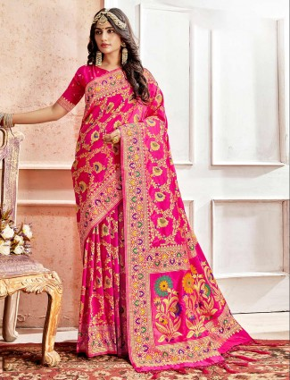 Magenta banarasi silk saree for wedding function