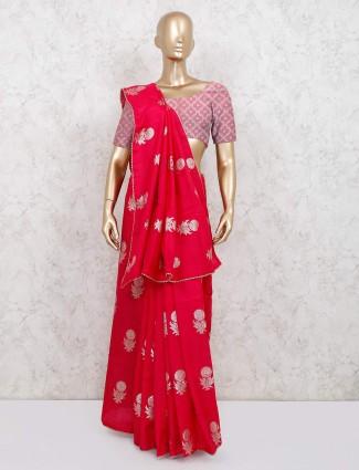 Magenta beautiful dola silk saree