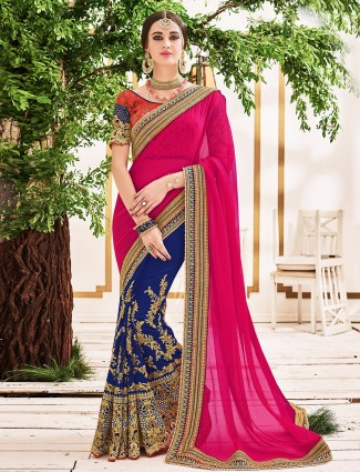 Magenta blue half and half saree