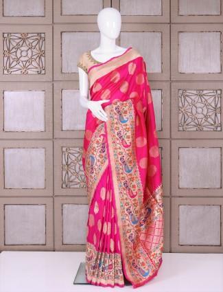 Magenta bridal wear pure banarasi silk saree