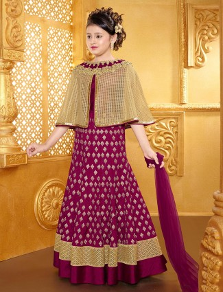 Magenta cape style lehenga choli