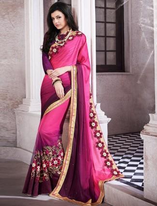 Magenta chiffon half and half wedding wear sari