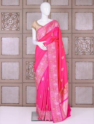 Magenta color banarasi silk saree