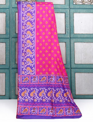 Magenta color festive wear simple saree