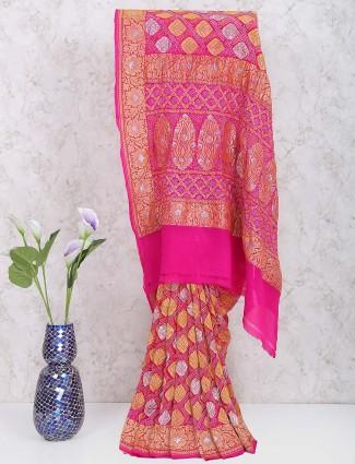 Magenta color georgette gharchola wedding saree