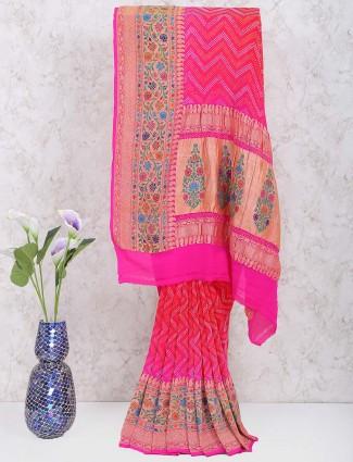 Magenta color georgette gharchola wedding sari