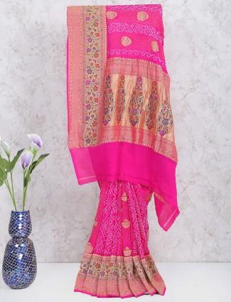 Magenta color gharchola saree in georgette fabric