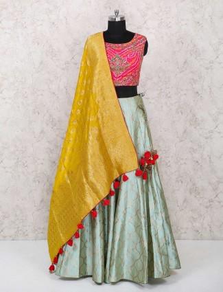 Magenta color party wear silk lehenga choli