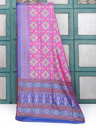 Magenta color printed cotton silk saree