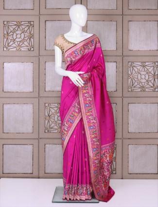 Magenta color pure banarasi silk saree