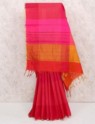 Magenta color saree in cotton silk