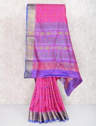 Magenta color semi silk saree for women