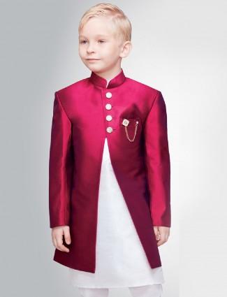 Magenta color silk indo western