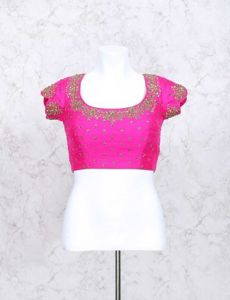 Magenta color silk ready made zari blouse