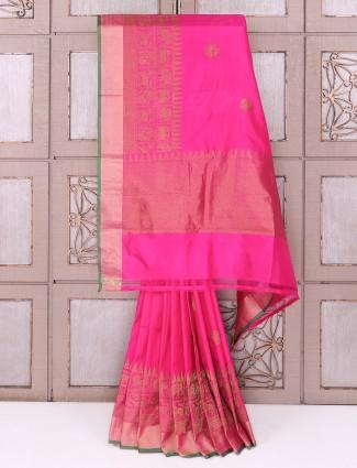 Magenta color silk saree for wedding wear
