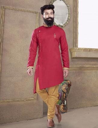 Magenta color solid kurta suit
