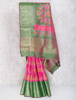 Magenta colored cotton silk festive saree