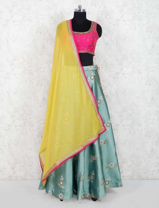 Magenta colored raw silk lehenga choli