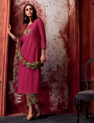 Magenta cotton salwar suit