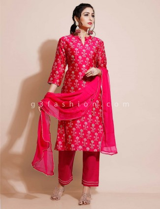 Magenta cotton salwar suit for festivals in cotton