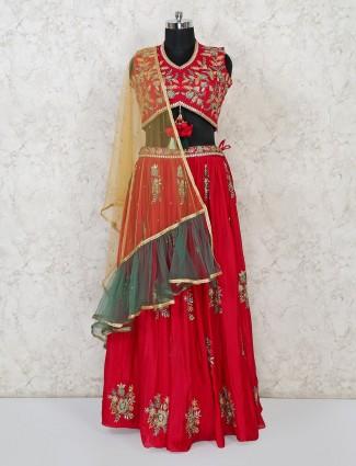Magenta cotton silk designer lehenga choli