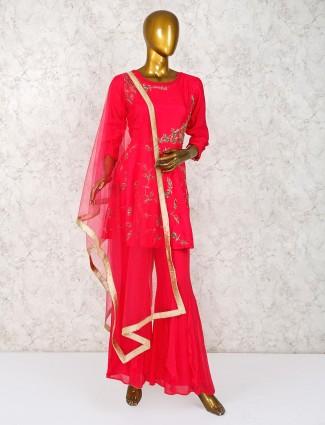 Magenta cotton silk festive punjabi sharara suit