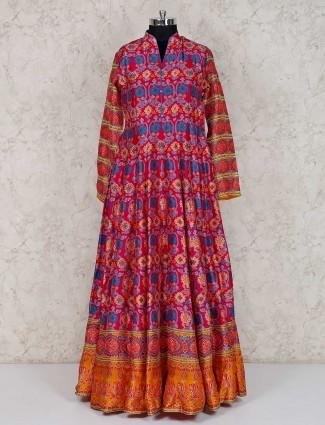 Magenta cotton silk festive wear printed anarkali suit
