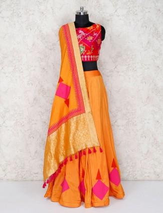 Magenta cotton silk lehenga choli for festive