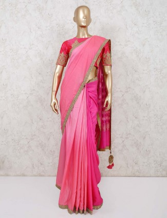 Magenta cotton silk party saree with readymade blouse