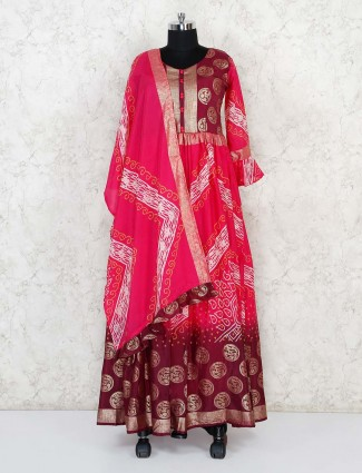 Magenta cotton silk printed anarkali suit