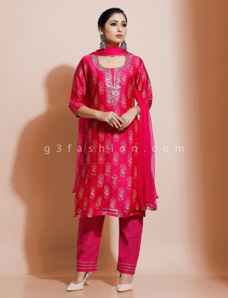 Magenta cotton silk printed kurti set