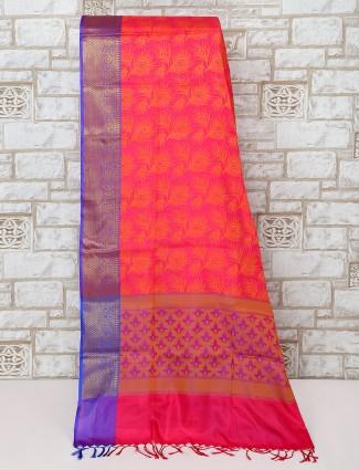Magenta cotton silk saree for festive