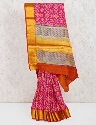 Magenta cotton silk saree in patola printed