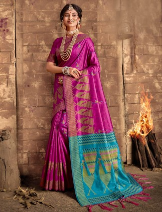 Magenta cotton silk thread weaving saree