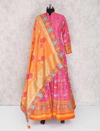 Magenta cotton silk wedding anarkali suit