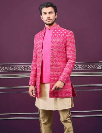 Magenta cotton silk wedding jecket style indo western