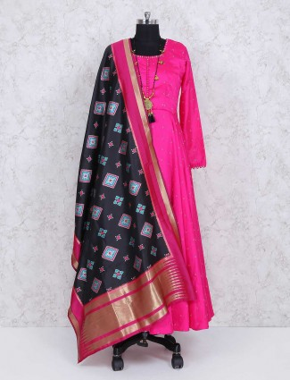 Magenta cotton silk wedding wear anarkali suit