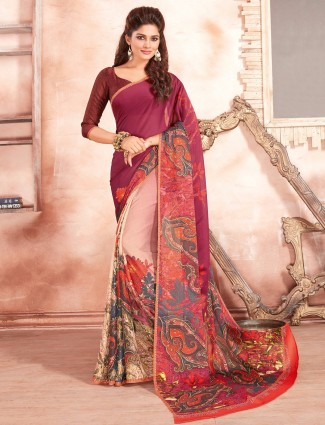 Magenta cream georgette saree