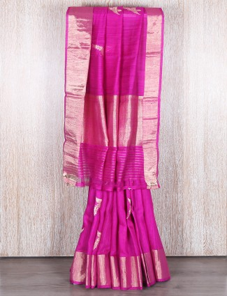 Magenta designer bhagalpuri silk saree