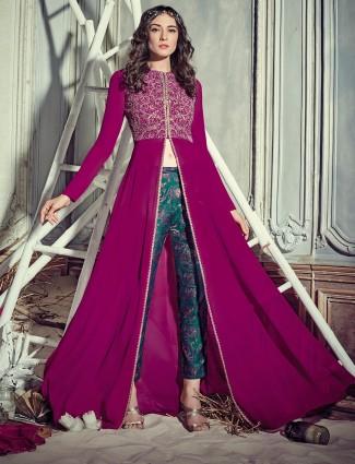 Magenta designer georgette salwar suit