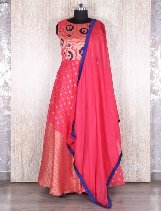 Magenta designer silk long anarkali suit