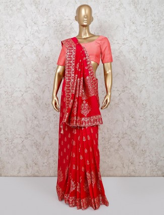 Magenta dola silk saree for wedding