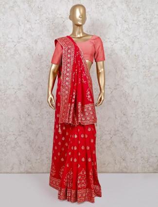 Magenta dola silk wedding saree