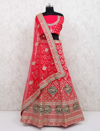 Magenta exclusive semi stitched bridal lehenga choli in silk