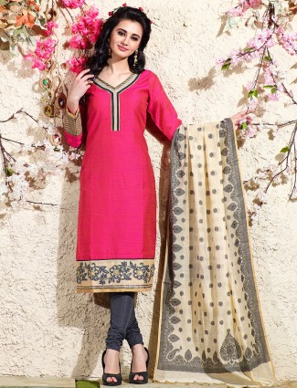 Magenta festive chanderi silk salwar suit