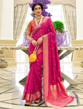 Magenta festive wear chanderi cotton saree