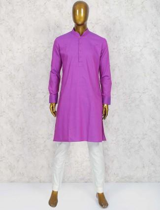 Magenta festive wear cotton kurta suit