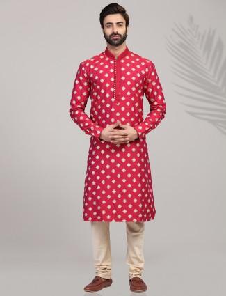 Magenta full sleeves kurta suit for festive