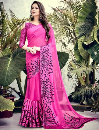 Magenta georgette printed casual saree