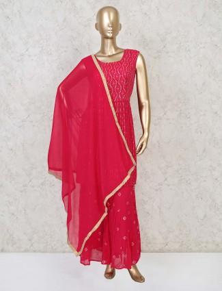 Magenta georgette punjabi sharara suit for party wear